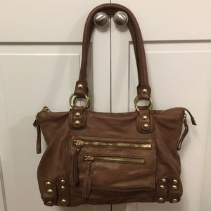 Lines Pelle Brown Leather Handbag